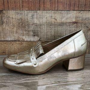 Franco Sarto gold Lauryn block heel heeled loader